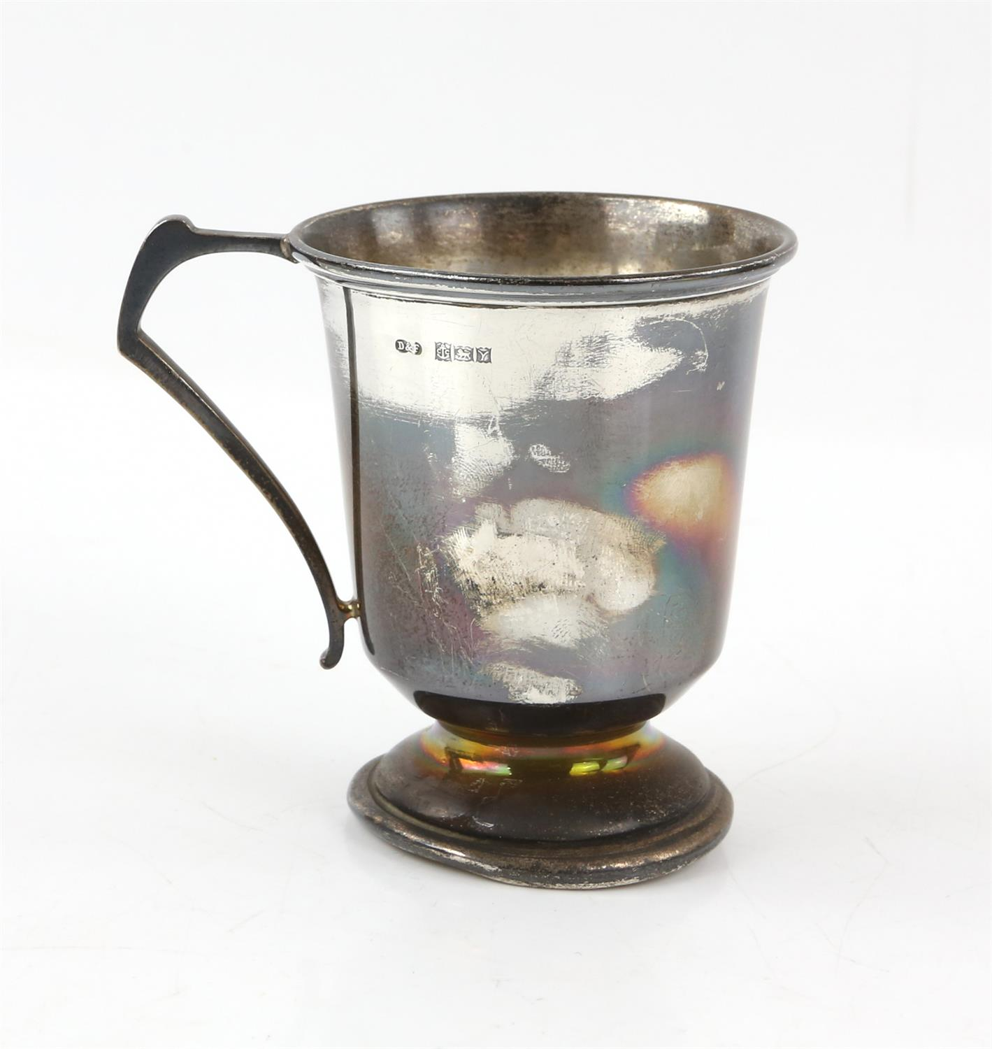 Edward VII silver cream jug with 'S'-scroll handle on round foot, by Ackroyd Rhodes, London, 1904, - Image 6 of 7