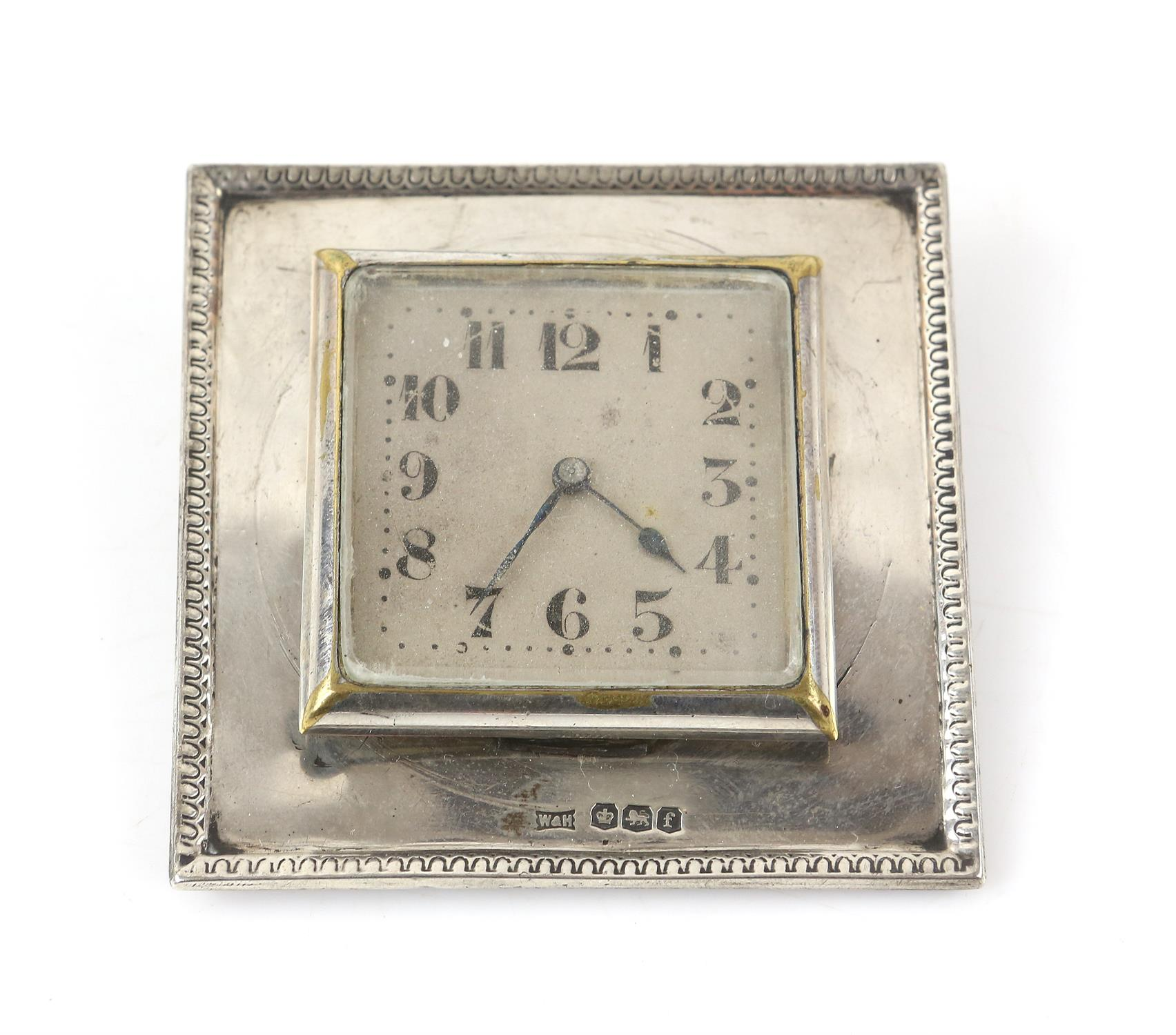 Walker and hall silver framed clock, an Indian silver white metal desk top card holder and a - Image 6 of 8