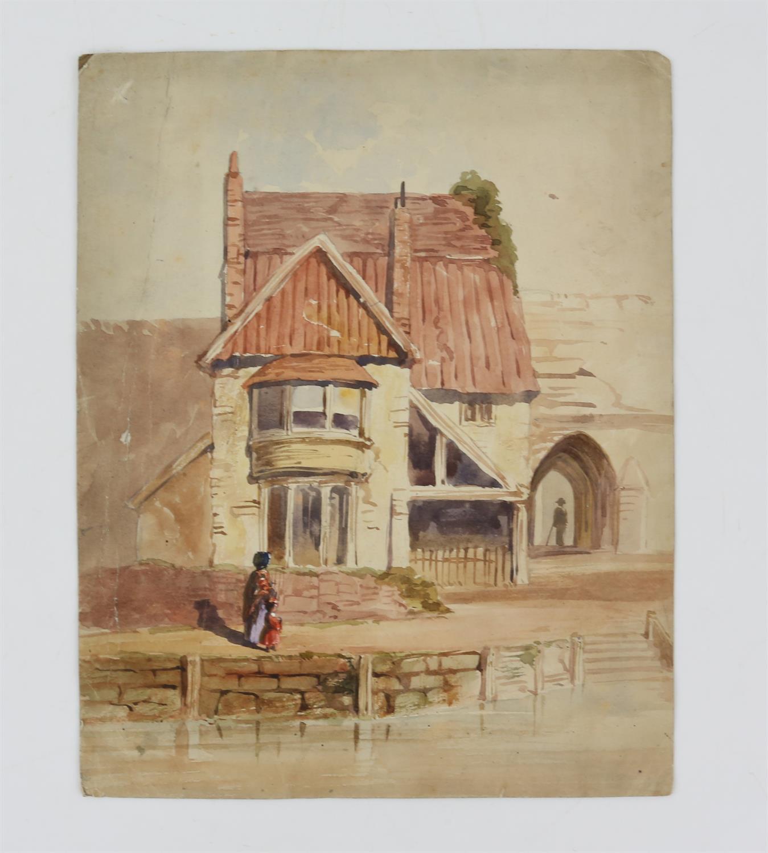 19th century British School, landscape with scene of a church, watercolour, 18cm x 26.5cm, 'St. - Image 6 of 6