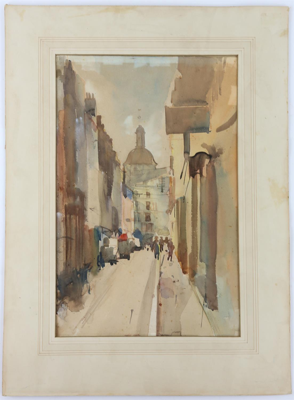 Charles Goddard Napier (British, 1889-1978). 'Strut In Dieppe', exterior scene. Watercolour on - Image 2 of 4