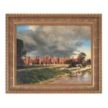 Les White (20th century British). Hampton Court Palace, oil on board, signed and dated 'Oct.
