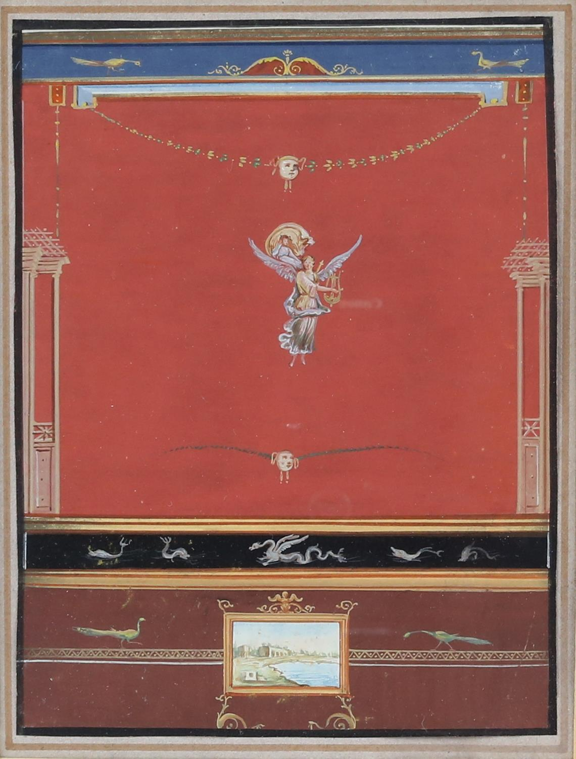 19th century Italian School, Pompeiian wall decoration for an interior, 22cm x 16.5cm, and another, - Image 2 of 7