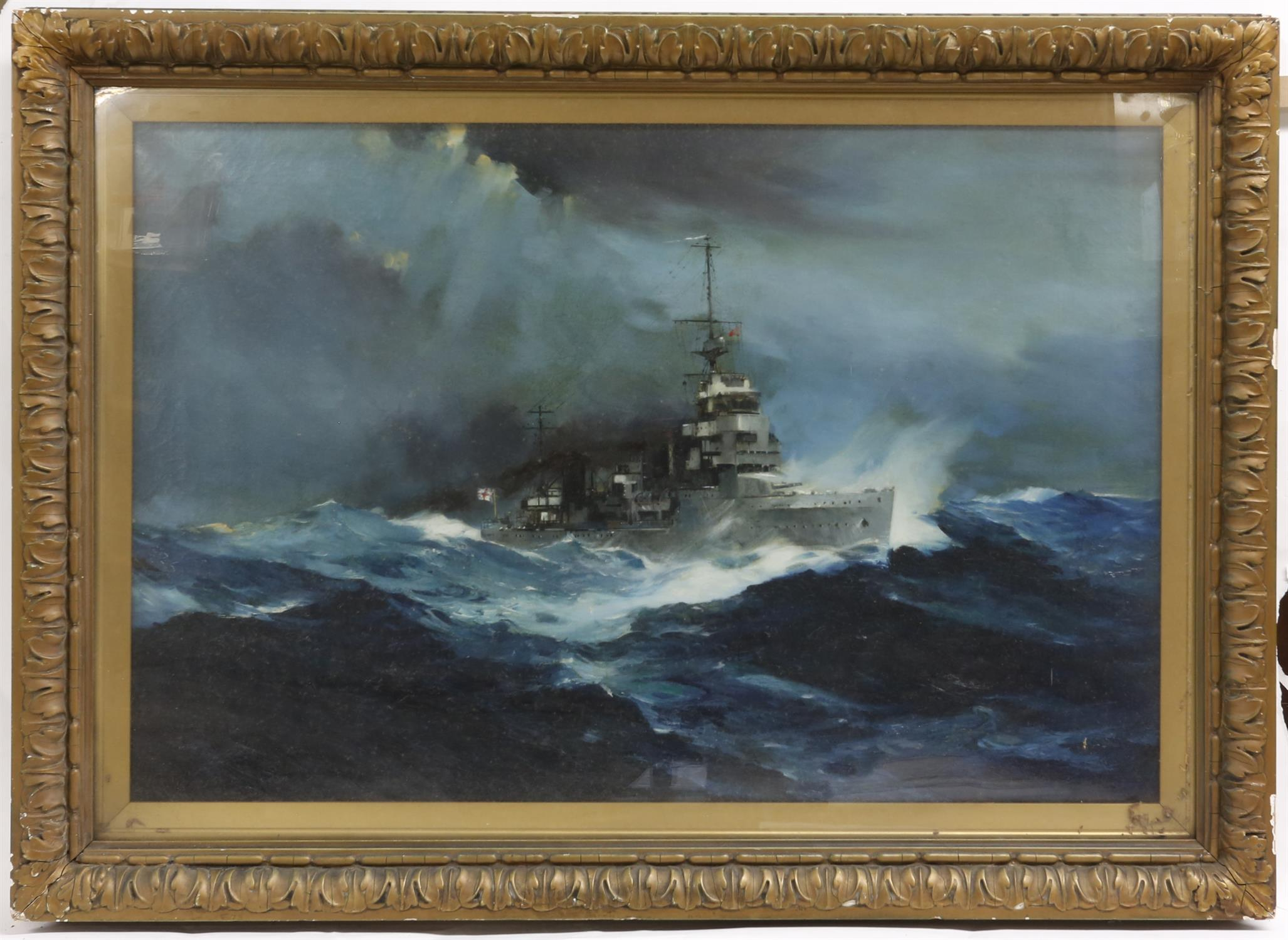 § Frank Henry Mason (British, 1876-1965). Frigate in stormy seas, circa 1920's, signed, - Image 2 of 2