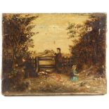 W. Parker (19th century English Naive School / Folk Art). Family by a Gateway. Oil on canvas,