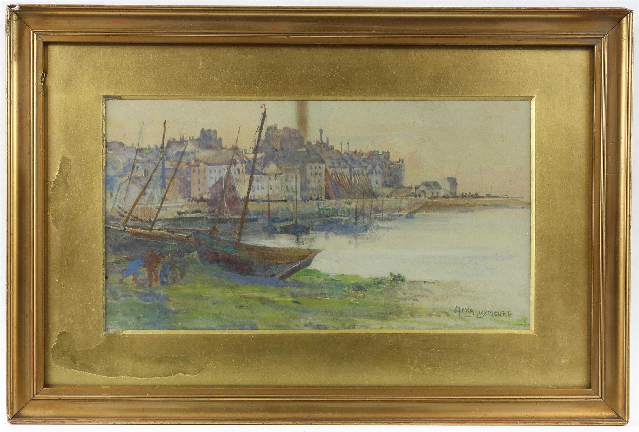 Myra Elizabeth Luxmoore (1860-1918), harbour scene,Watercolour, 18cm x 33cm, and two early 20th - Image 2 of 4