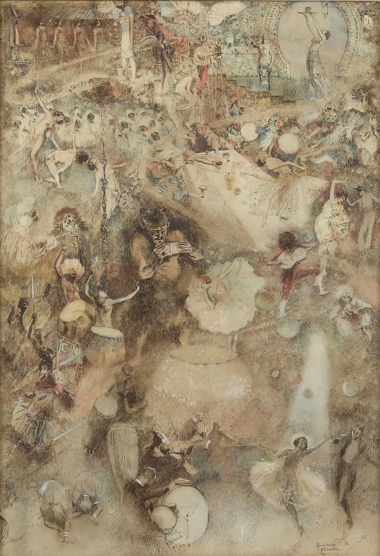 § Howard K. Elcock (British, 1886-1952). Fantasy figures partying. Watercolour 1923.