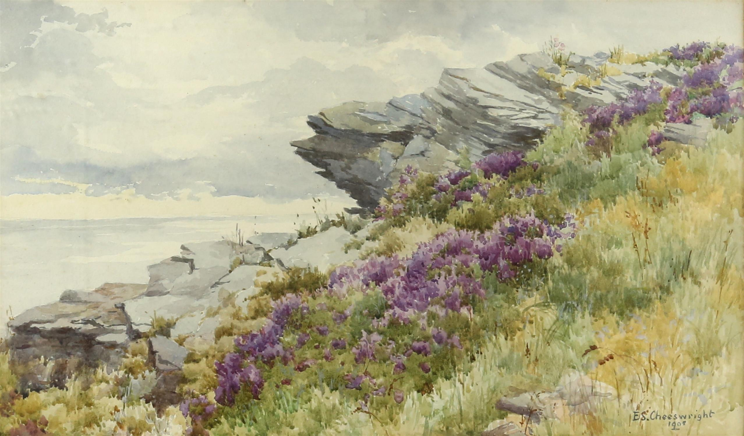 """Ethel Sophia Cheesewright (British, 1874-1977) """"between the heather and the Northern Sea"""","""