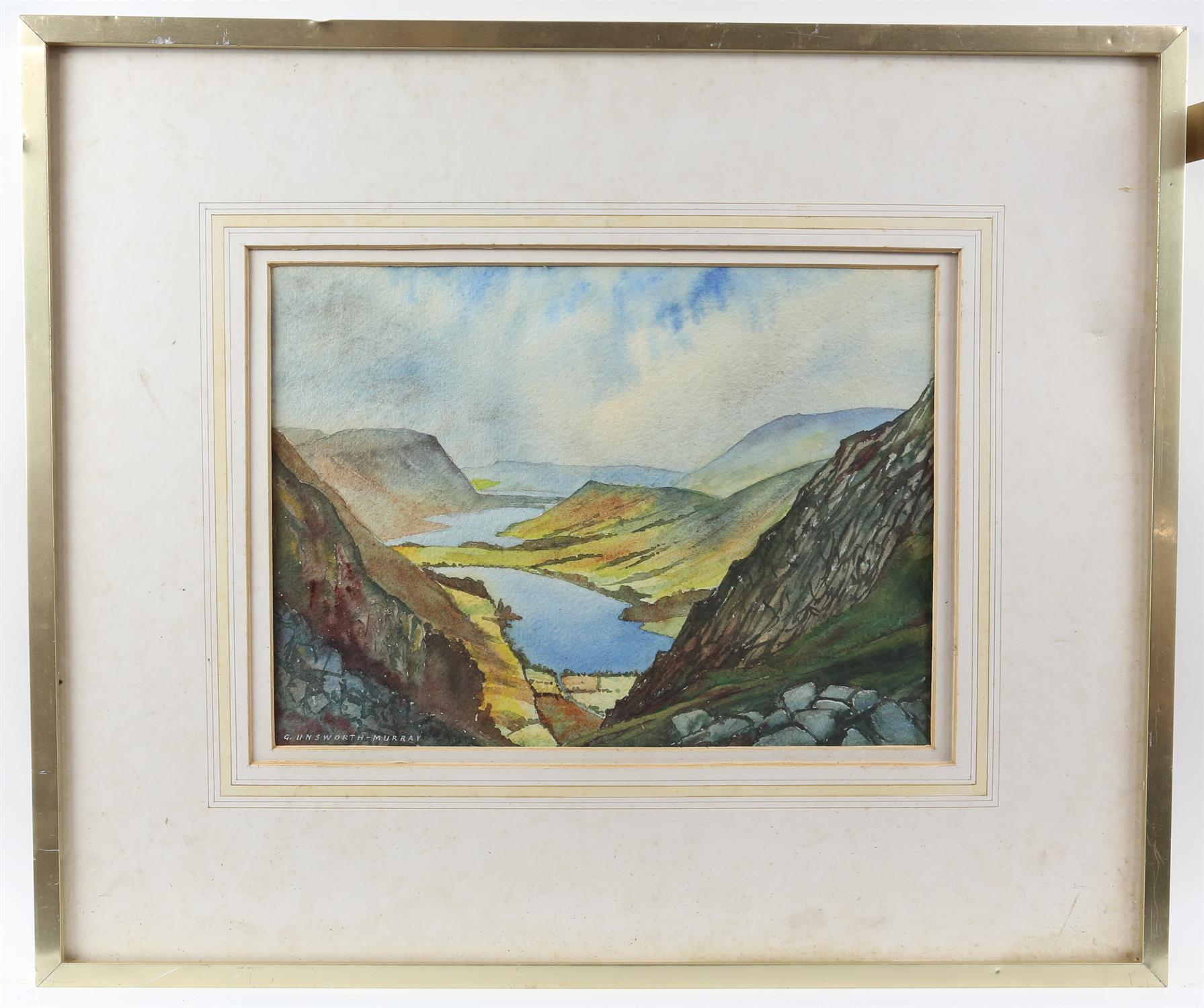 G Unsworth-Murray, British 20th century, 'Buttermere and Crummock Water', signed, watercolour, 26. - Image 2 of 3