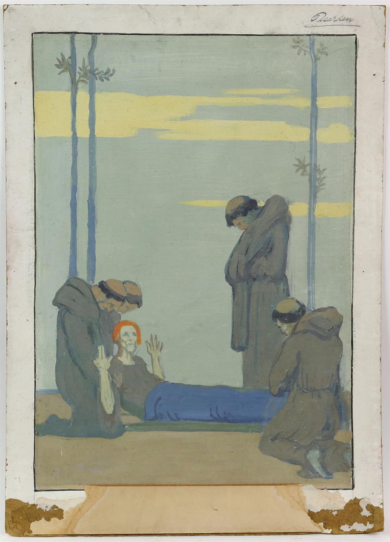 Harold Dearden (British, 1882-1962). Recumbent figure with attendant monks, signed, gouache, 56.