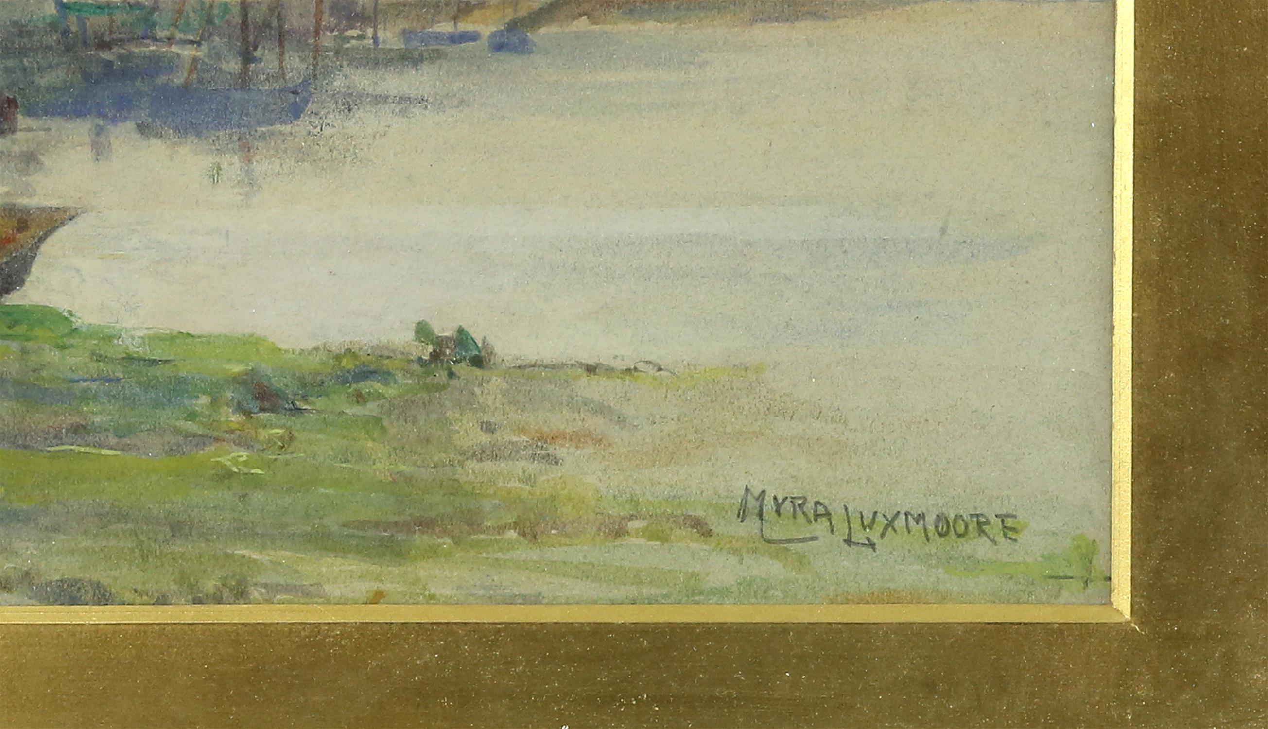 Myra Elizabeth Luxmoore (1860-1918), harbour scene,Watercolour, 18cm x 33cm, and two early 20th - Image 3 of 4