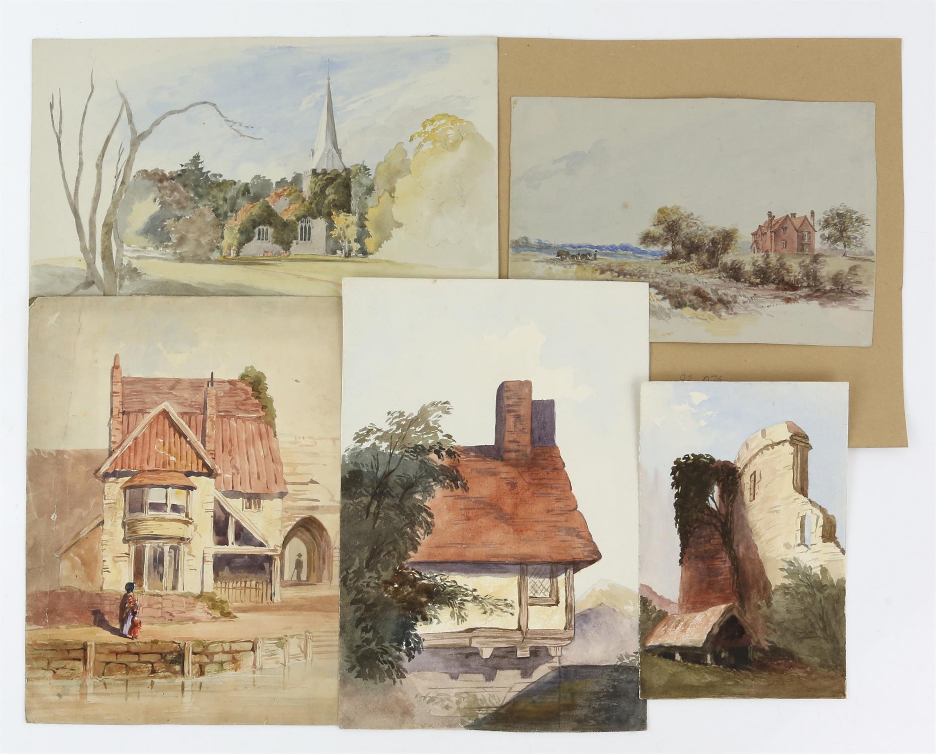 19th century British School, landscape with scene of a church, watercolour, 18cm x 26.5cm, 'St.