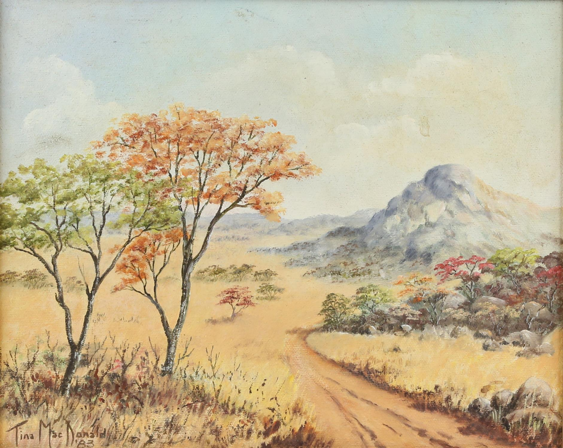 Tina MacDonald, Australian 20th century, landscape with hills and trees, signed and dated '83,