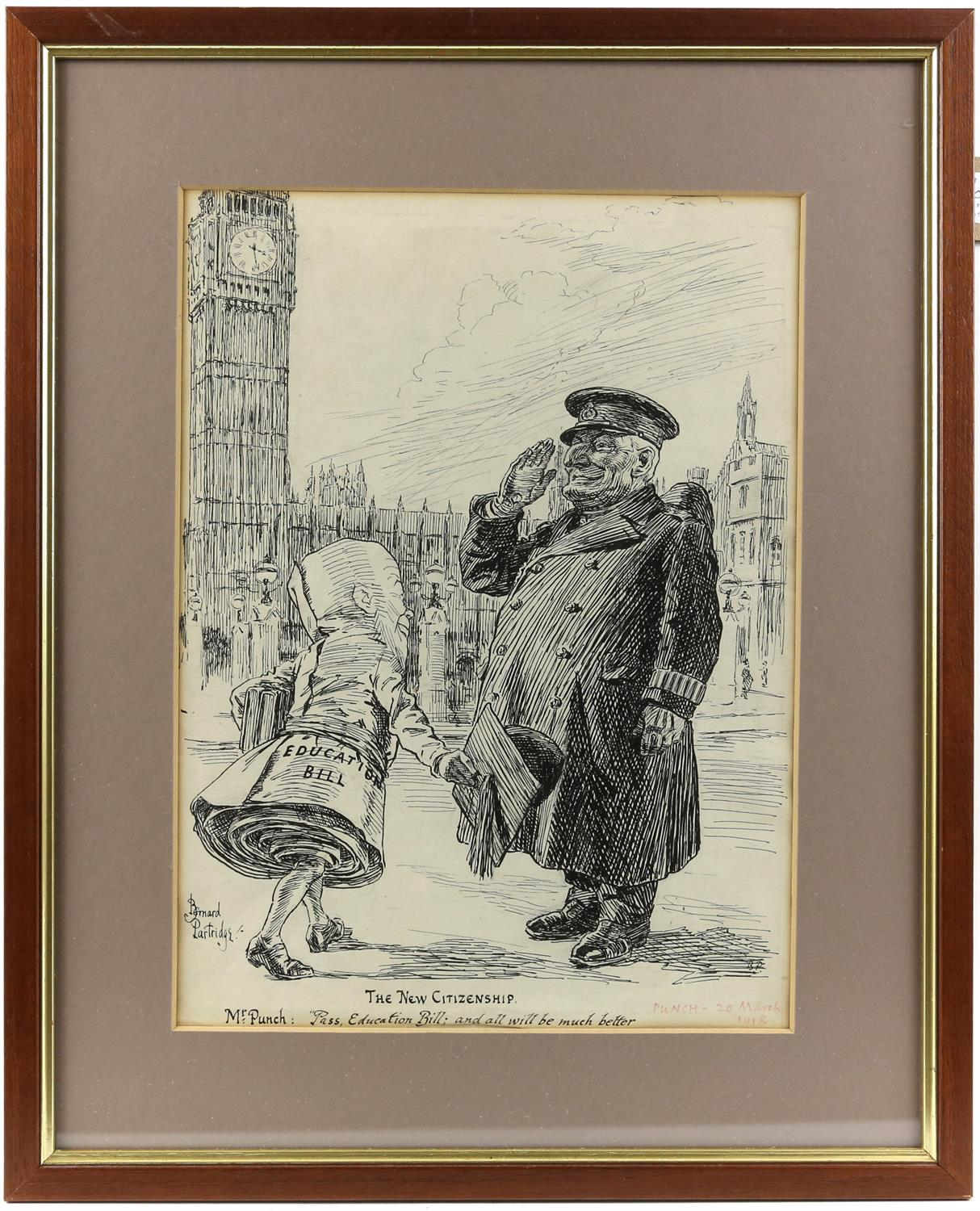 """Bernard Partridge (British, 1861-1945), 'The New Citizenship - Mr Punch: """"Pass, Education Bill; and - Image 2 of 3"""