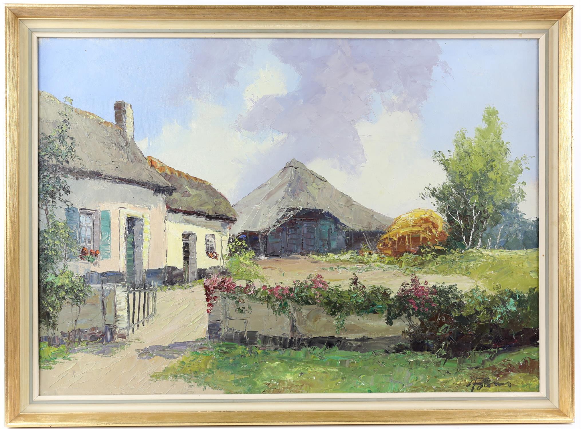 Bernard Laarhoven (Dutch, 1912). Dutch farmstead near Alkmar, Holland , title to verso, - Image 2 of 4