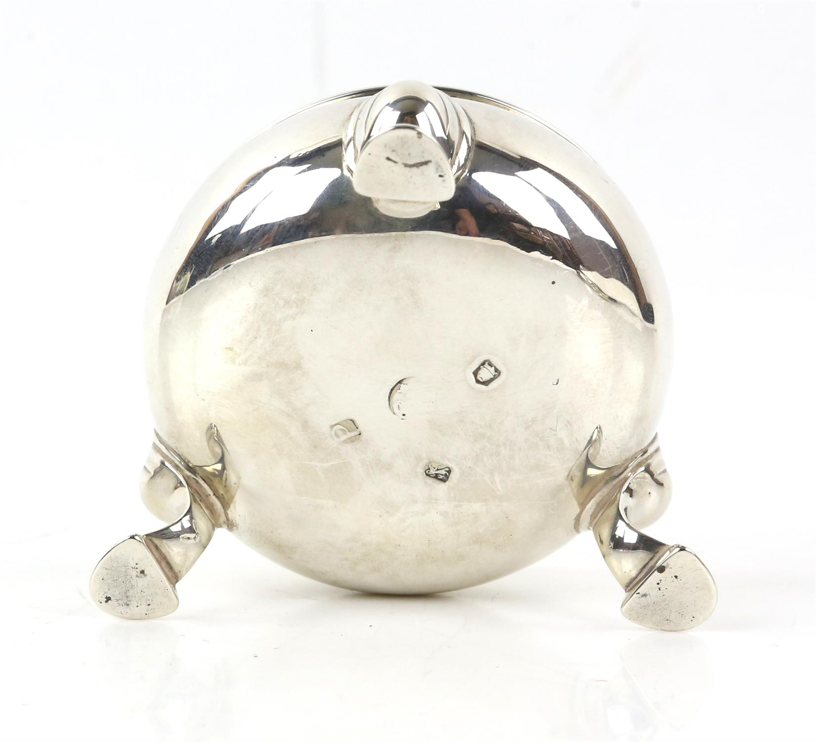Two matched George III silver cauldron form salts, each on three hoof feet, marks rubbed, - Image 10 of 10