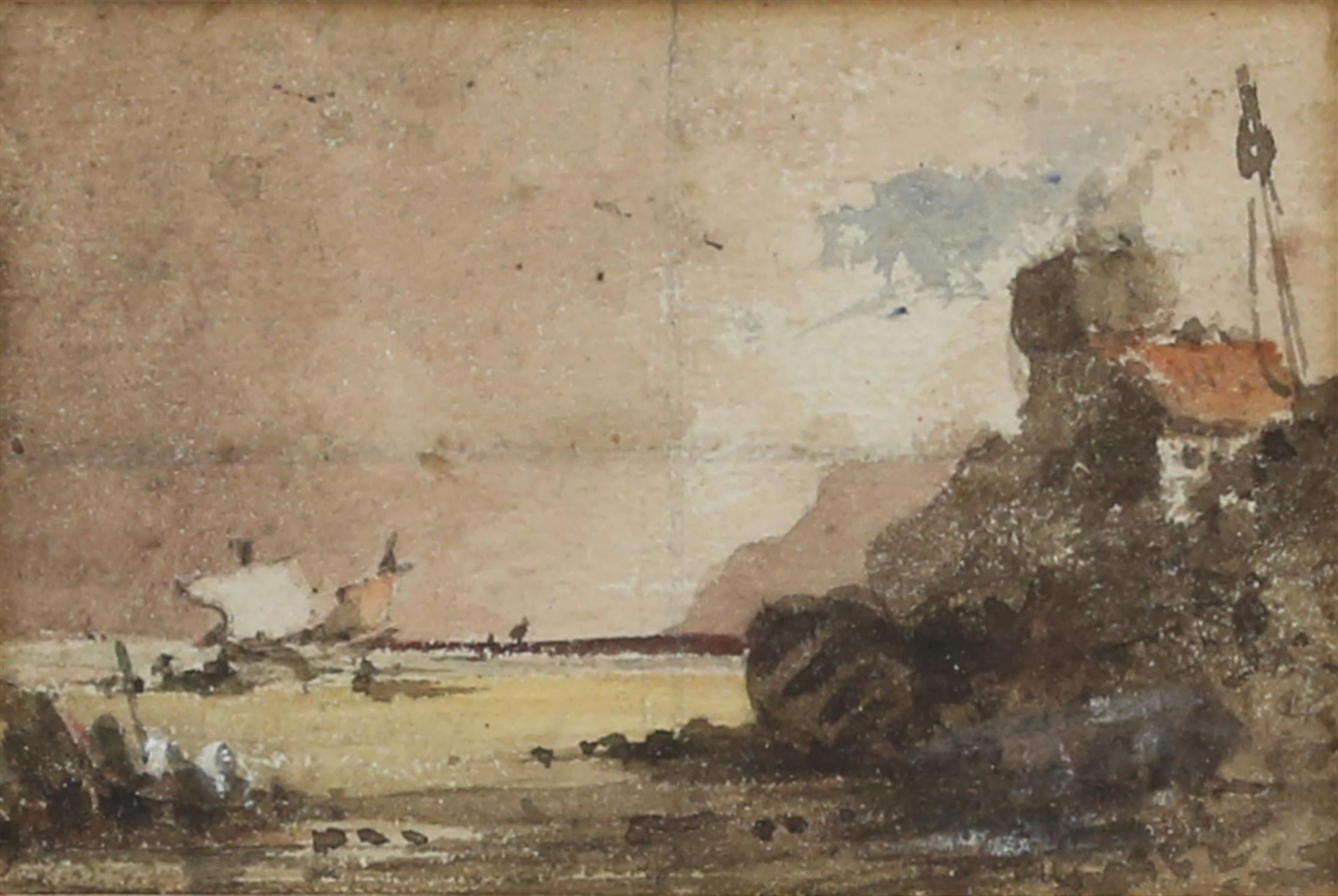Attributed to Sir John Crampton (British, 1805-1886). Fishing boats on the beach, watercolour, - Image 3 of 3