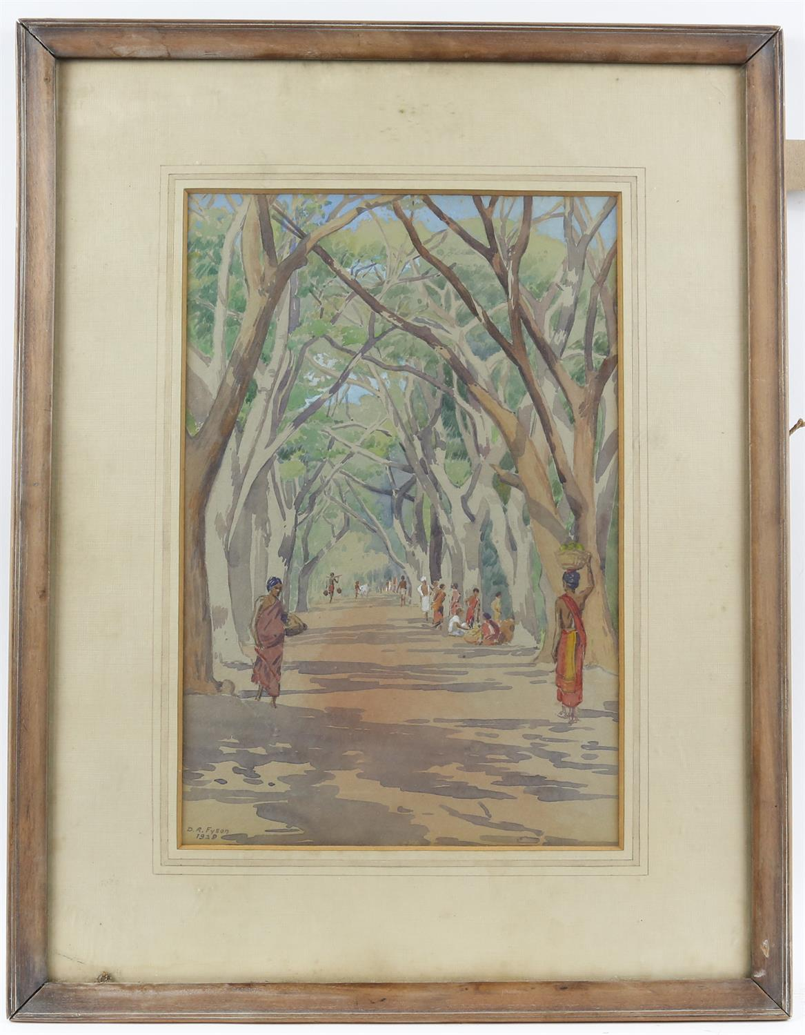 D R Fyson, British 1886-1947, Indian tree covered road with figures, signed and dated 1929, - Image 2 of 3