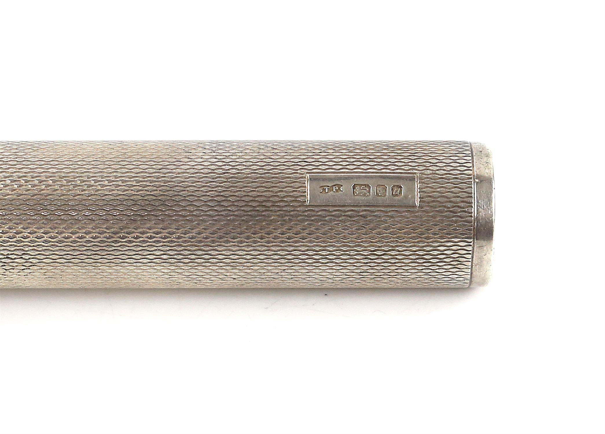 Large silver hand held torch with an engine turned finish and a rectangular vacant cartouche by TP, - Image 4 of 4