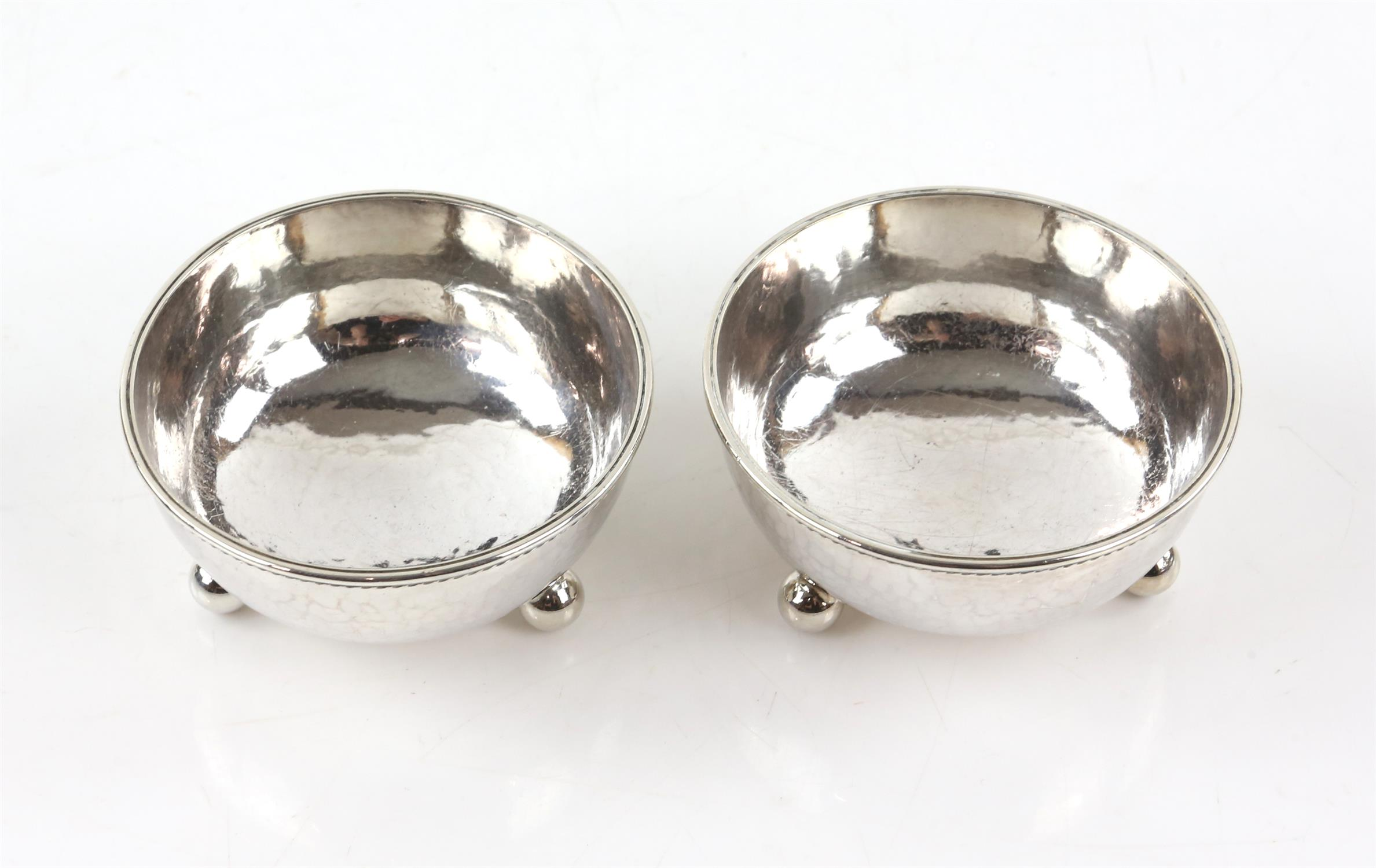 Pair of George V silver bonbon dishes with gadrooned borders, each on three ball feet, - Image 2 of 4