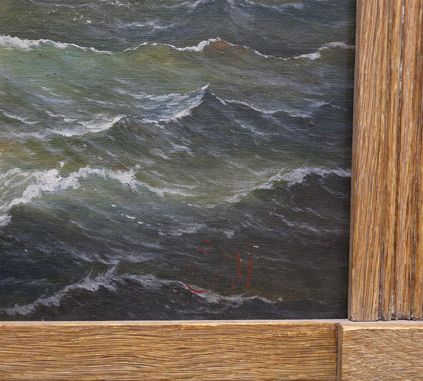 Attributed to George Mears (British, 1826-1906). Sailing ship in a swell. Initialled G M lower - Image 3 of 4