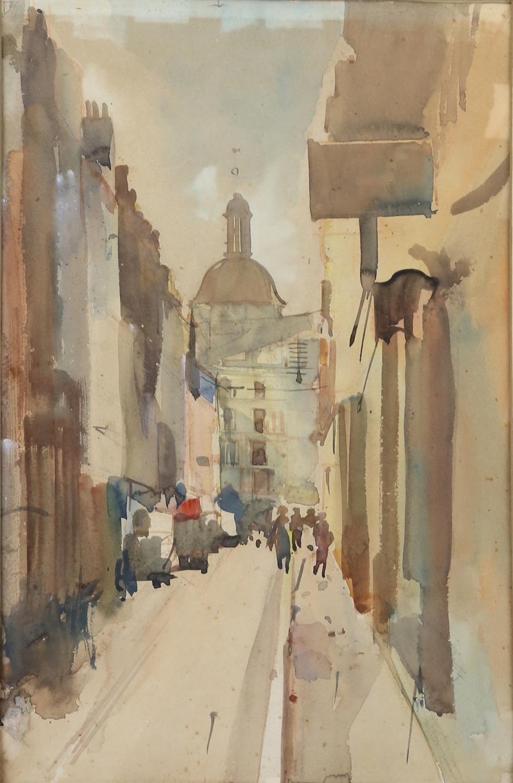 Charles Goddard Napier (British, 1889-1978). 'Strut In Dieppe', exterior scene. Watercolour on