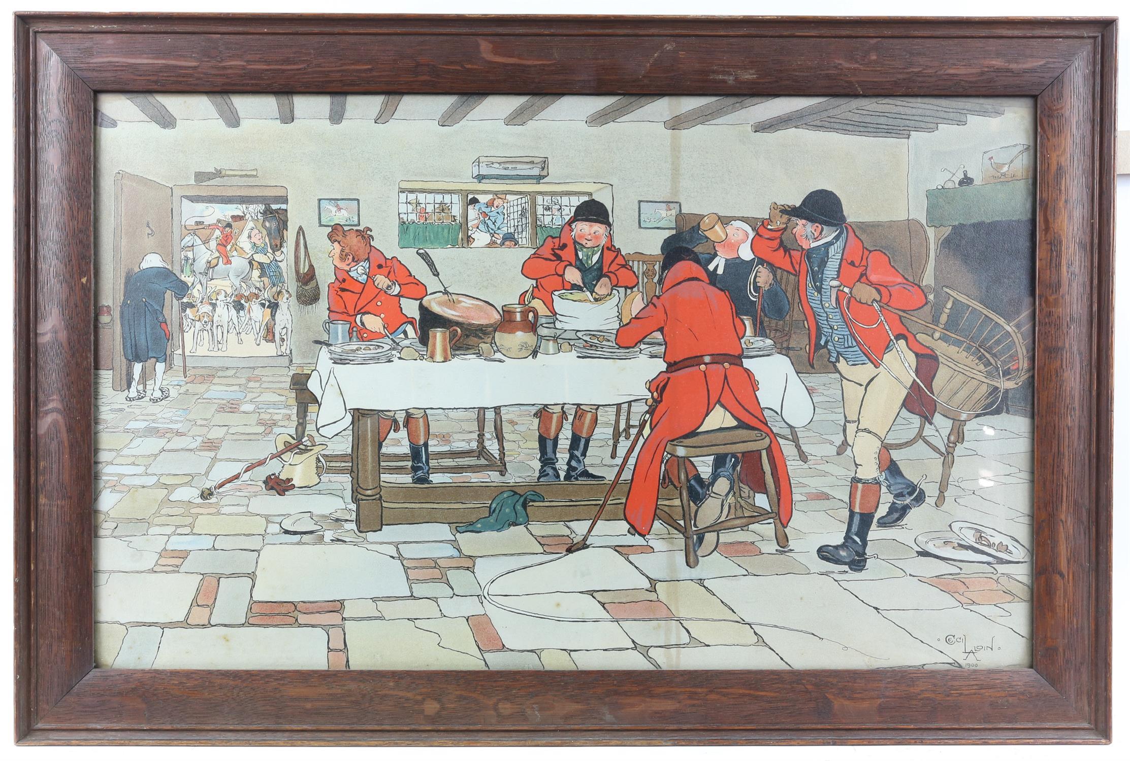 After Cecil Aldin, print of huntsmen in a tavern, 37 x 60.5cm, - Image 2 of 3