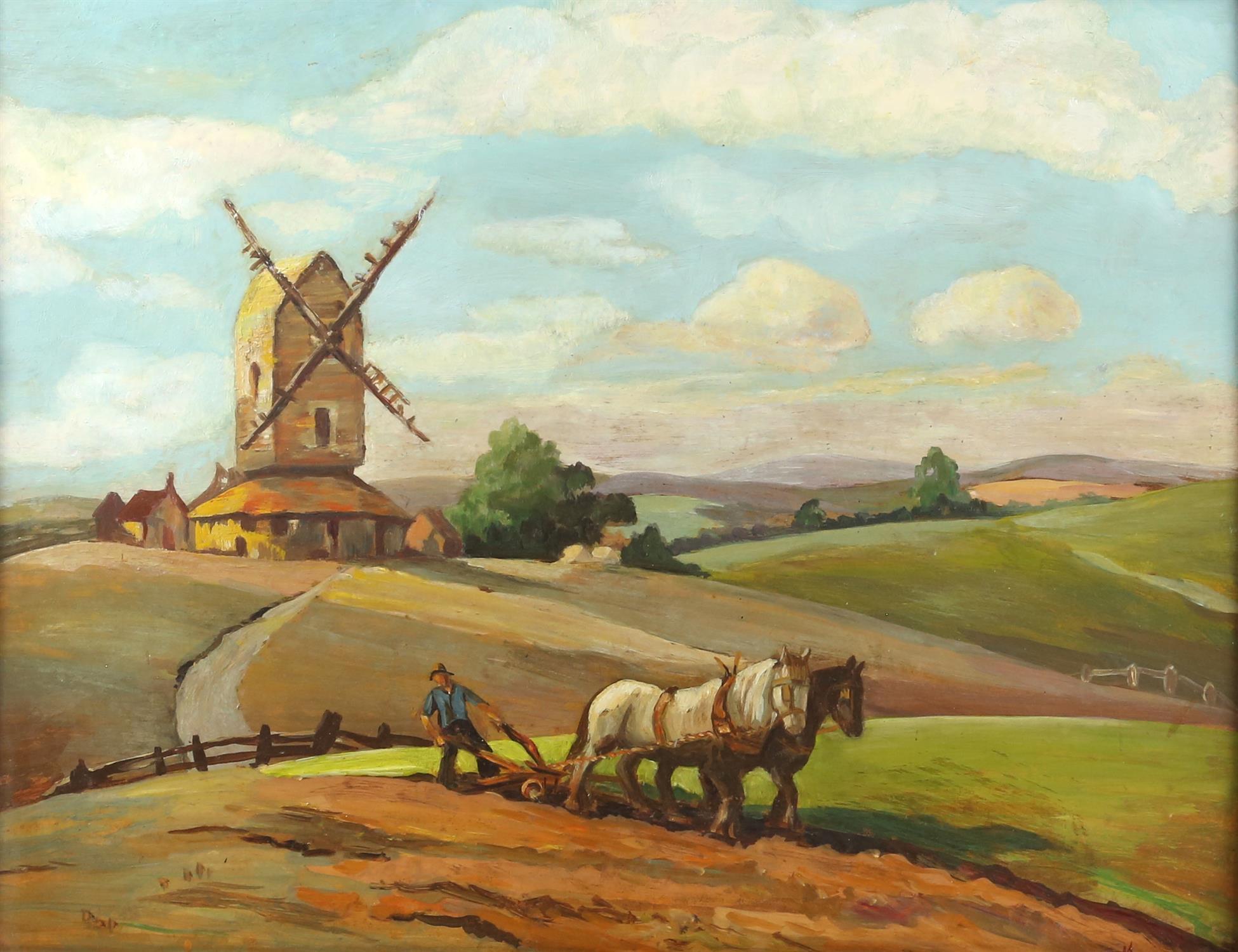 'JM'. (British School 19/20th Century). Plough team near a windmill. Oil on board,