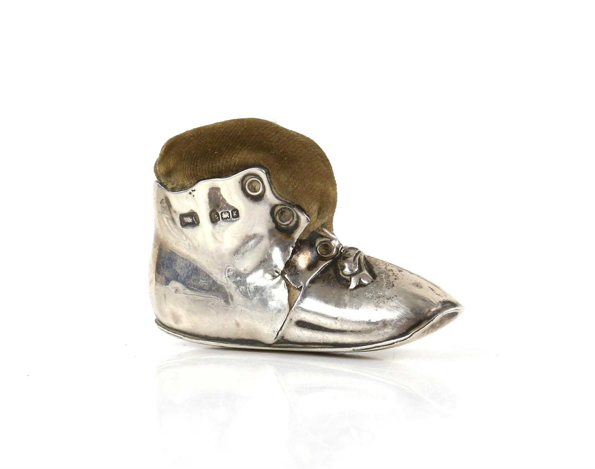 Edward VII silver novelty pin cushion in the form of a tramp's boot, Birmingham 1906
