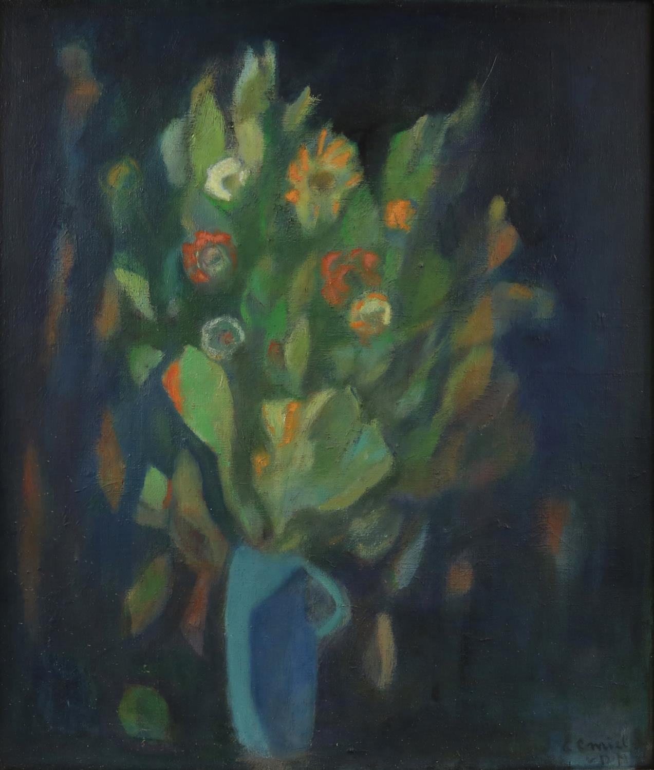 20th century, still-life of flowers in a jug, indistinctly signed, oil on canvas, 68 x 58.5cm,