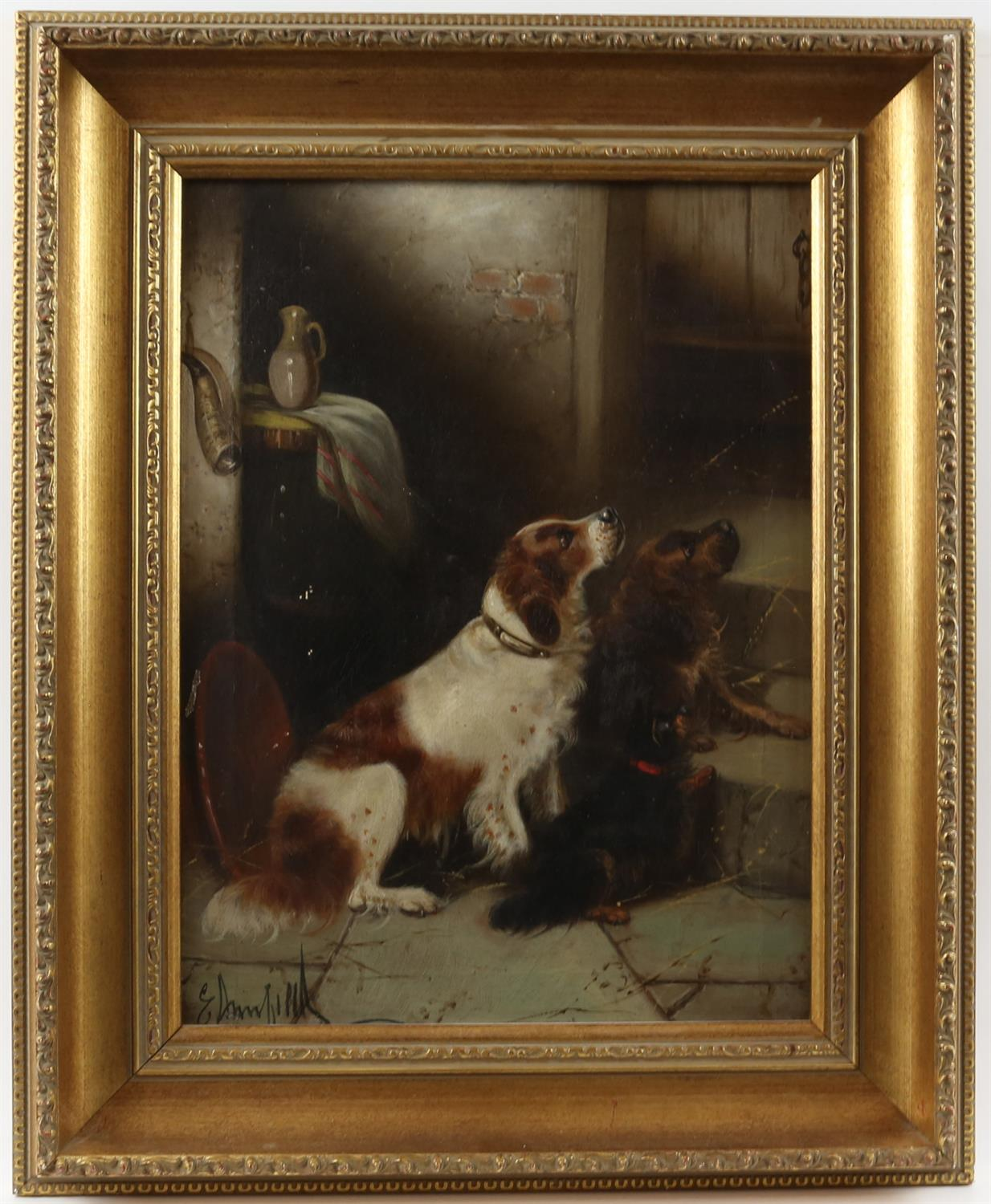 Edward Armfield (British, 1817-1896) 'Waiting for Master'; and 'Terriers Misbehaving', both signed, - Image 6 of 9