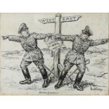 Bernard Partridge (British, 1861-1945), 'Divided Counsels', WWII original Punch sketch, pen and ink,