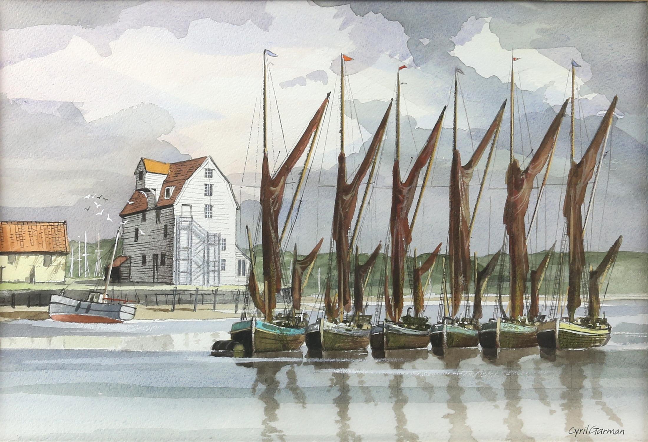 "Cyril Garman (20th Century British), ""Sailing Barges, Deben Estuary"", watercolour, signed, - Image 3 of 9"