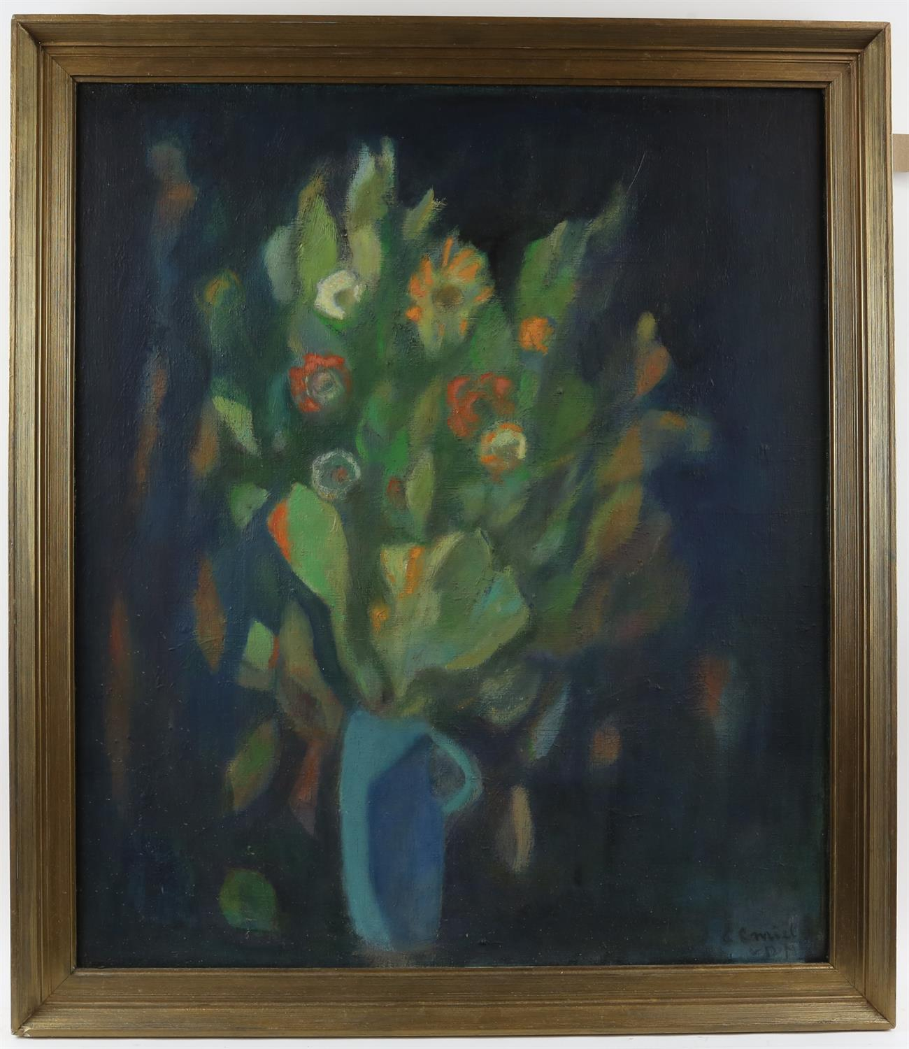 20th century, still-life of flowers in a jug, indistinctly signed, oil on canvas, 68 x 58.5cm, - Image 2 of 3