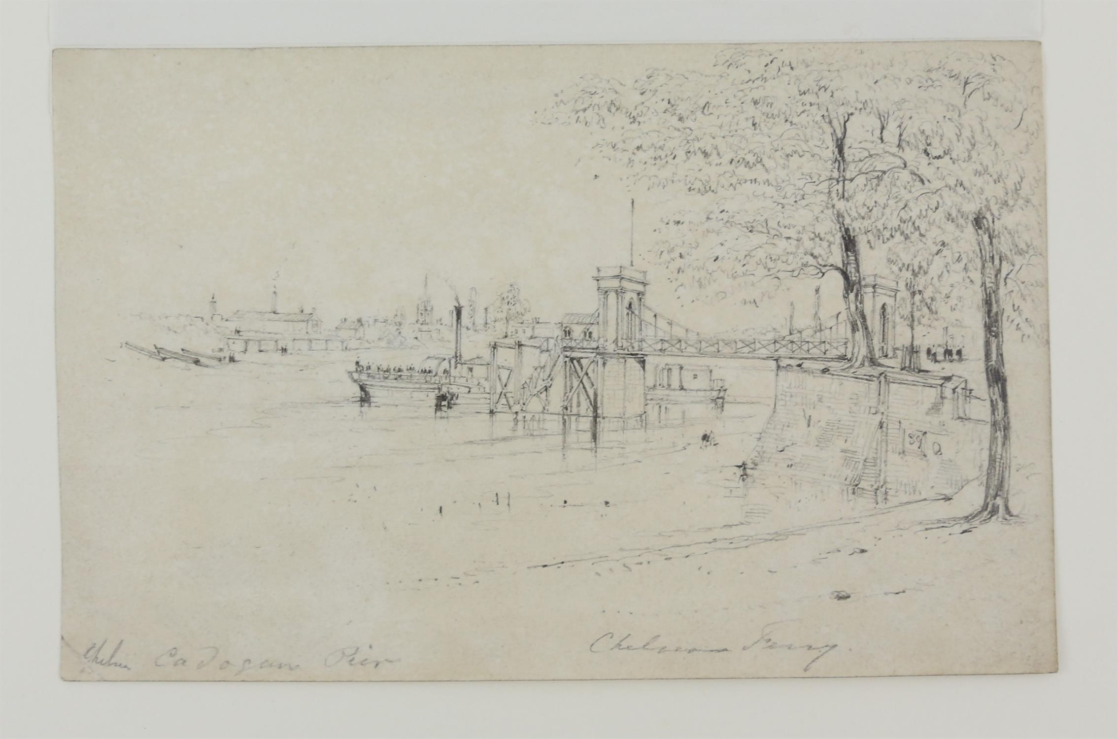 19th century scene with a castle and figures before the moat, sepia wash, 9.5cm x 15. - Image 6 of 8