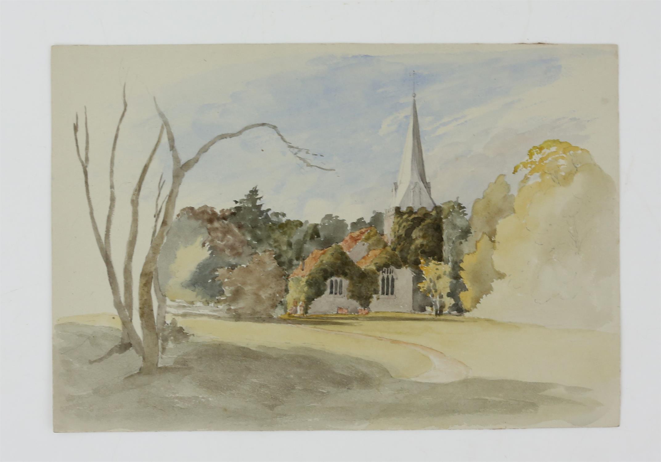 19th century British School, landscape with scene of a church, watercolour, 18cm x 26.5cm, 'St. - Image 2 of 6