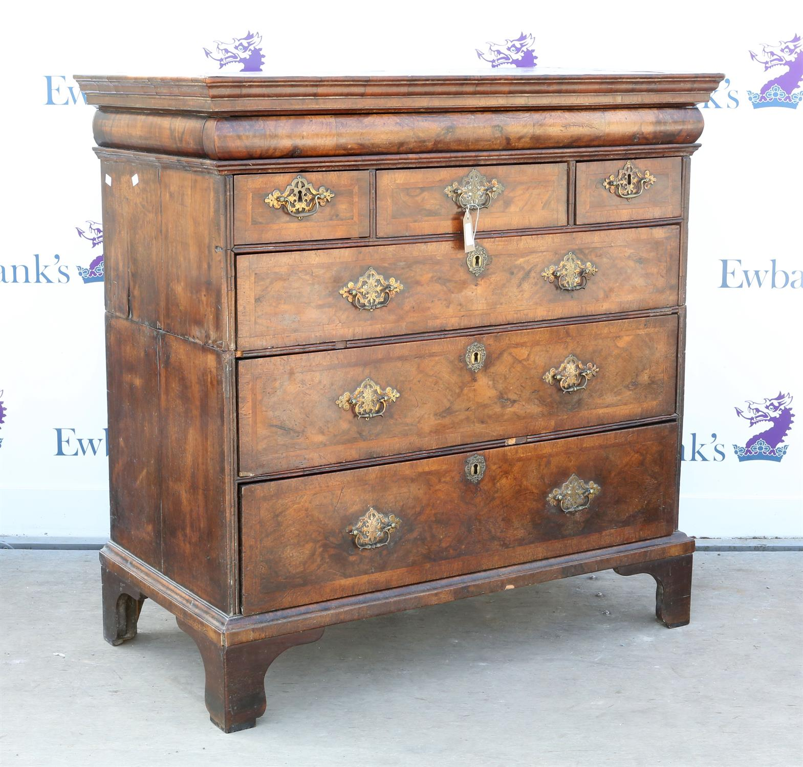19th century mahogany chest of drawers, with single frieze drawer above three short over three long - Image 2 of 2