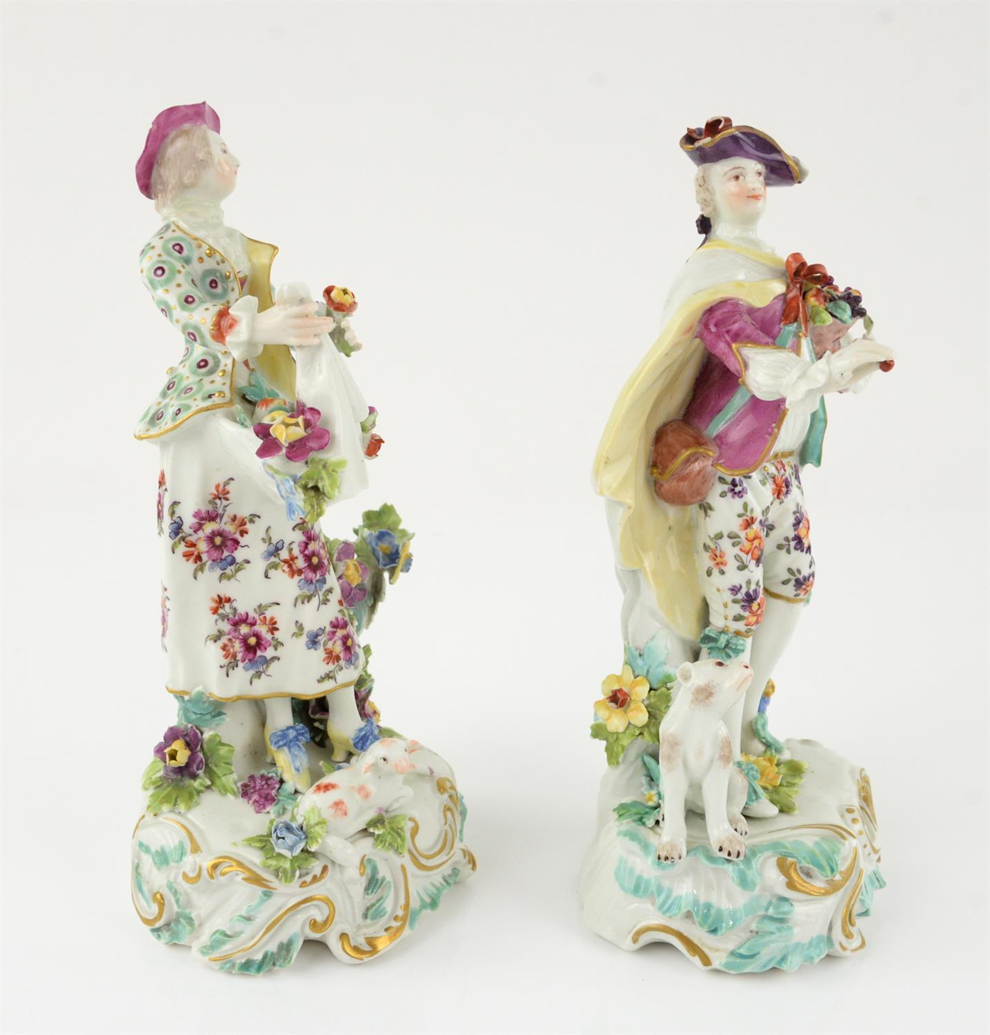 Pair of Derby style porcelain figures of a man holding a basket of fruit and a woman gathering - Image 2 of 5