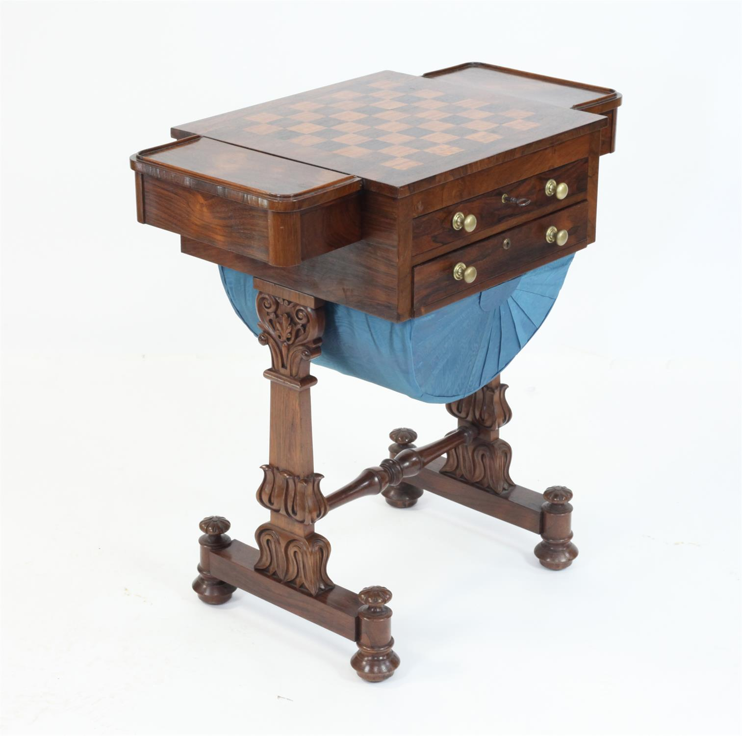 Early 19th Century rosewood games and work table with chessboard top flanked by drawers over - Image 2 of 5