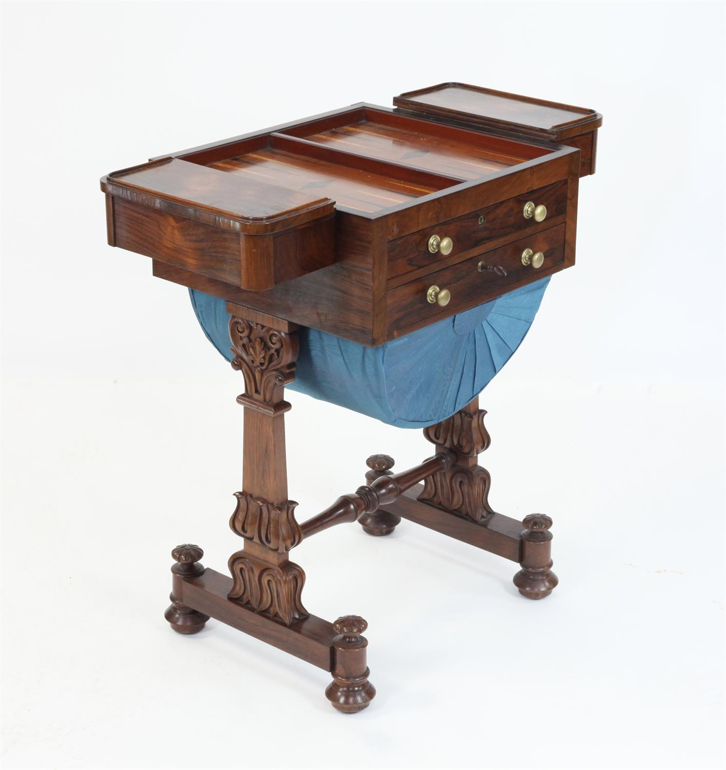 Early 19th Century rosewood games and work table with chessboard top flanked by drawers over - Image 5 of 5