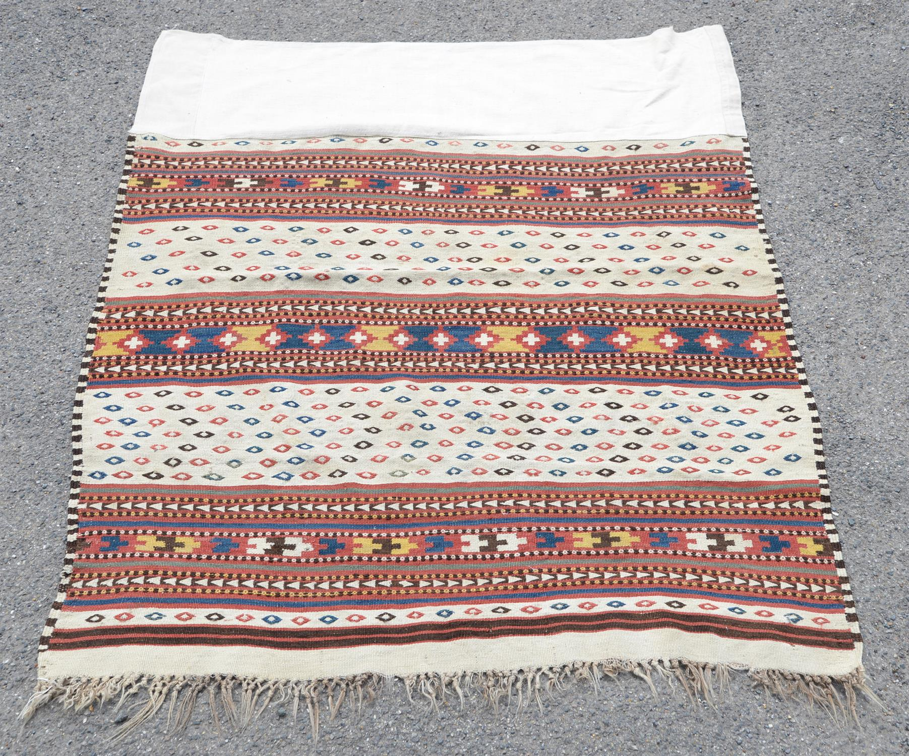 Tribal woven wall hanging with bands of geometric decoration, 124 x 130cm