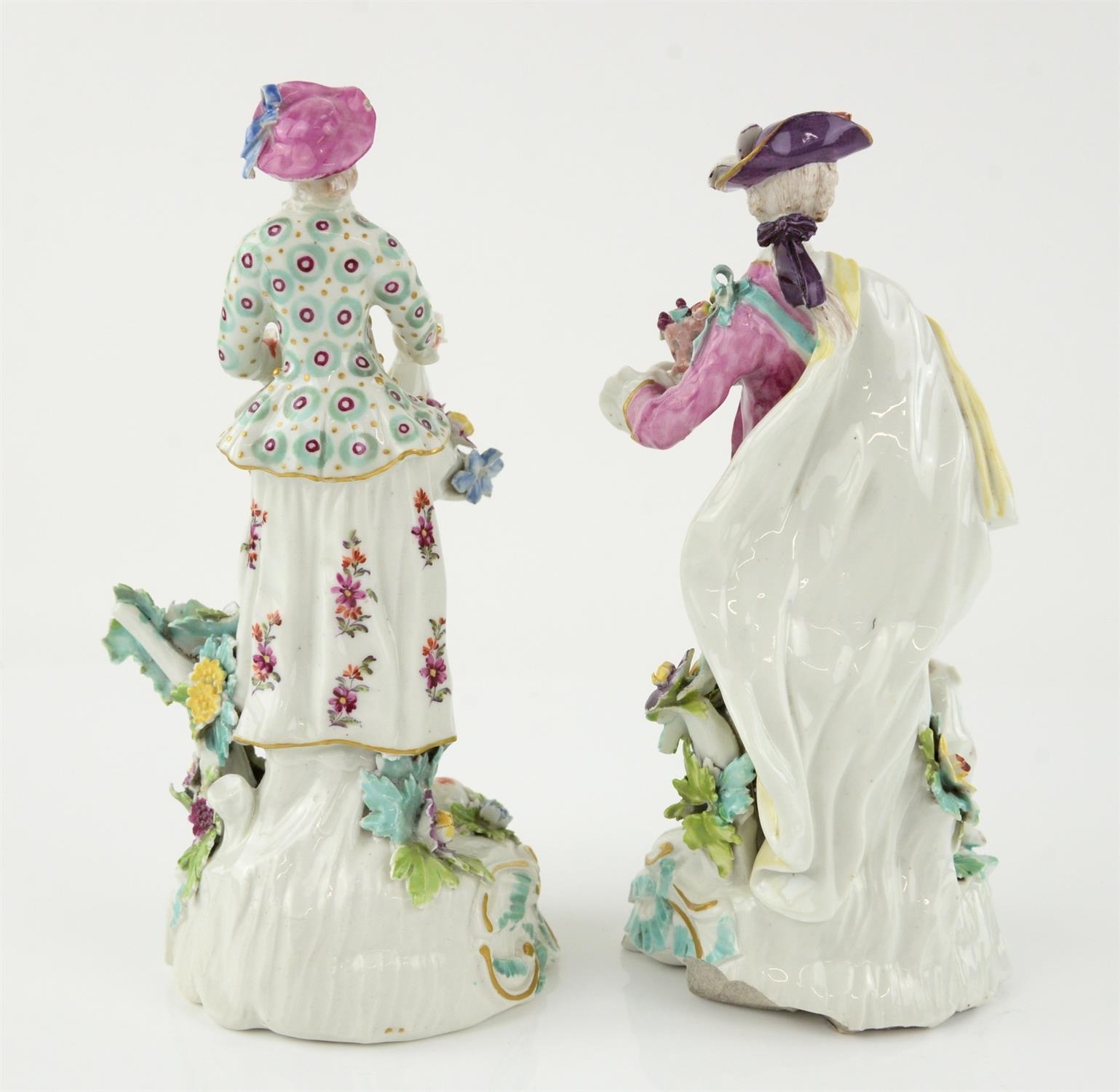 Pair of Derby style porcelain figures of a man holding a basket of fruit and a woman gathering - Image 3 of 5
