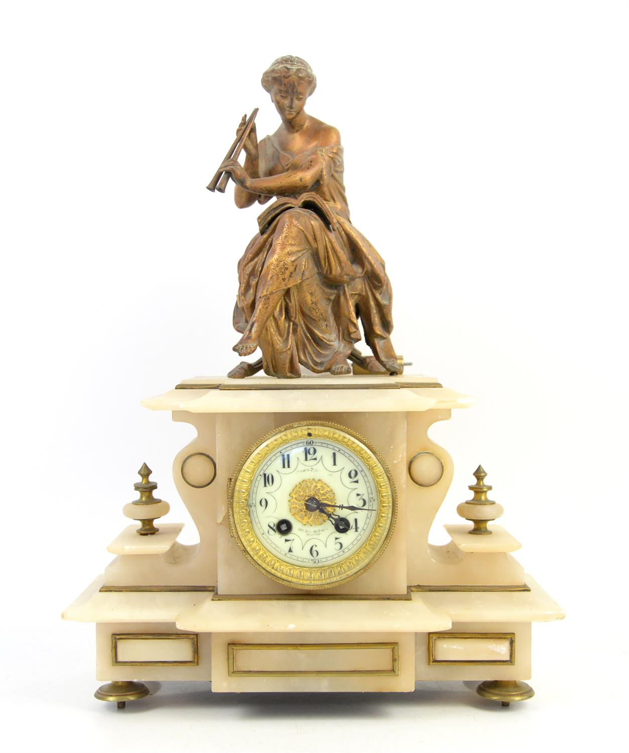 French alabaster mantel clock with spelter figure of a classical lady playing music,