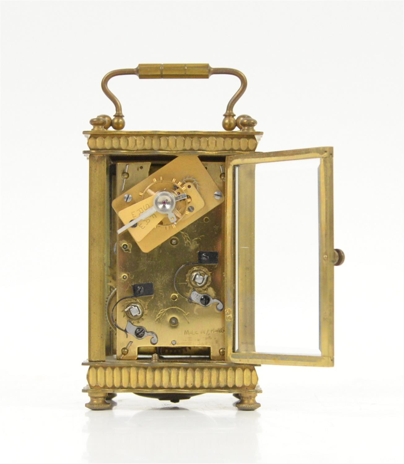 French brass carriage clock, the silvered dial with Arabic numerals and seconds subsidiary dial, - Image 4 of 5