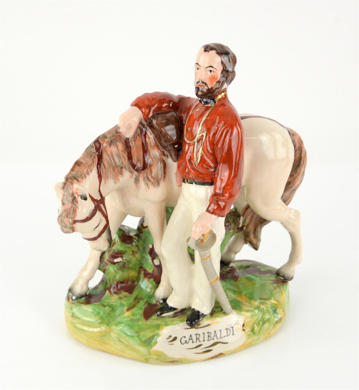 Staffordshire porcelain figure of Garibaldi, unmarked to base, h23cm