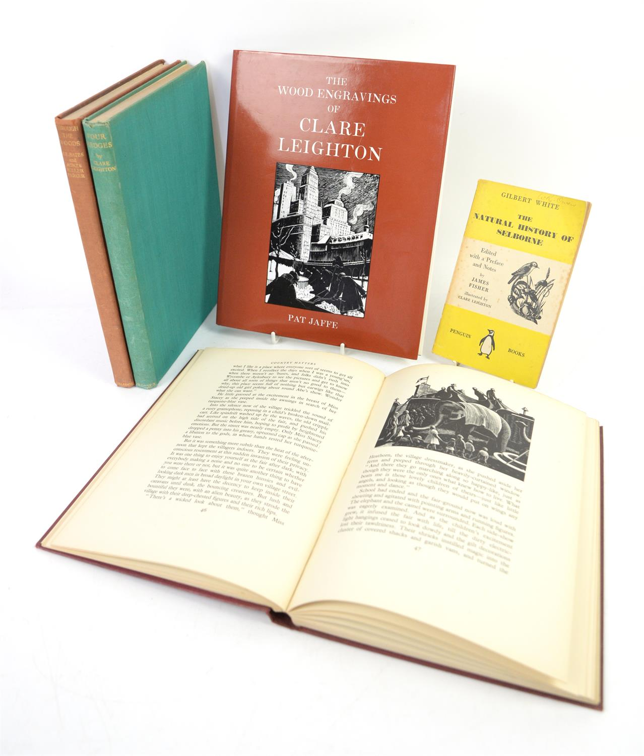 A collection of books with woodcut illustrations by Clare Leighton, to include Four Hedges 1936,