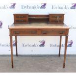 Late 19th century mahogany and burr walnut crossbanded desk, having raised back with shelf flanked