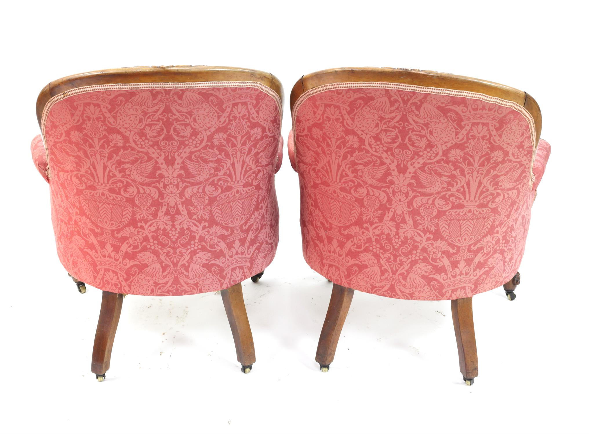 Pair of Victorian rosewood armchairs, with floral upholstery and scroll arms on cabriole legs and - Image 2 of 2