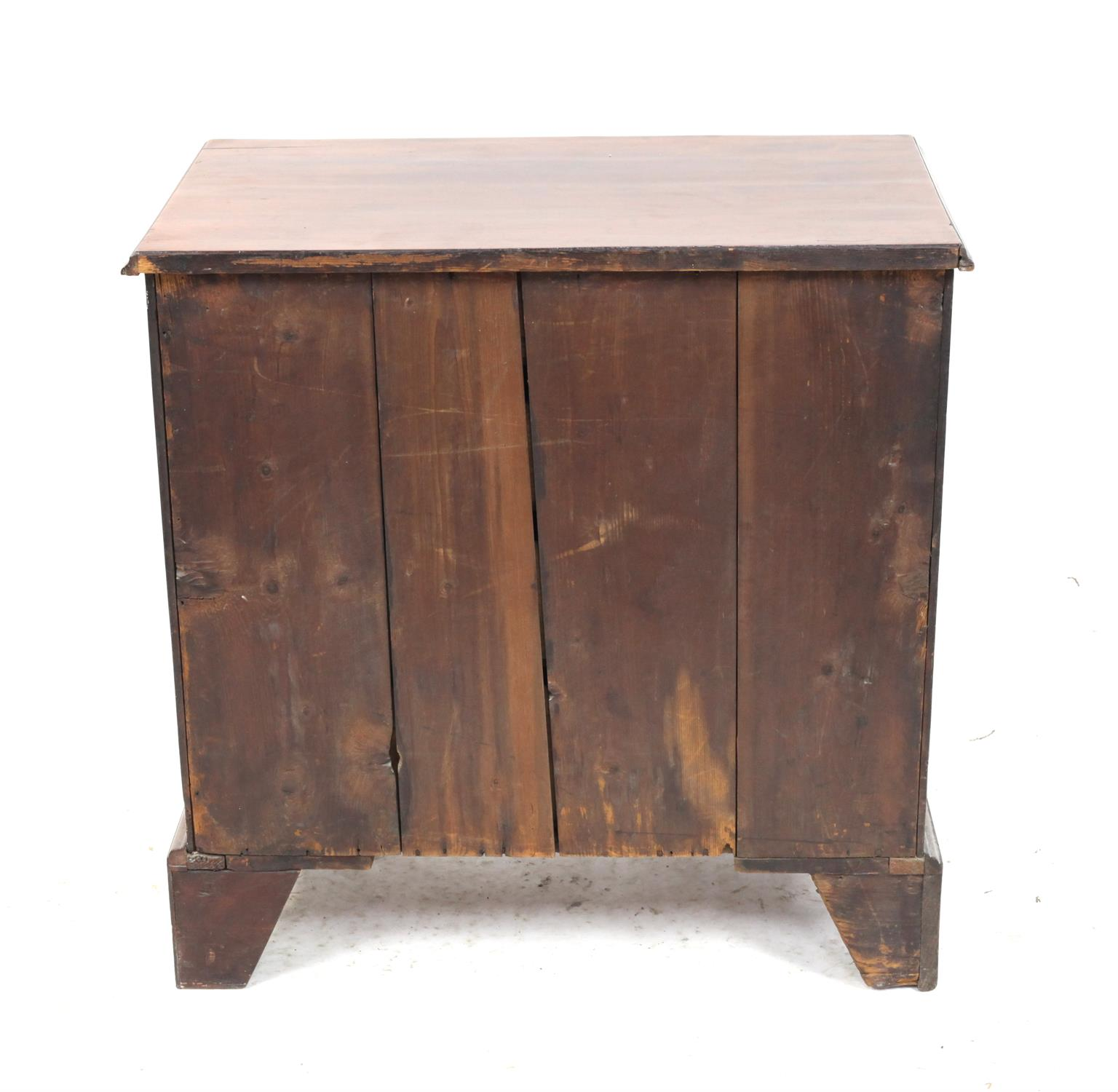 19th century mahogany chest of four graduated drawers on bracket feet, H76 x W75 x D44cm - Image 4 of 4
