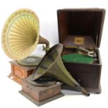 Three old wind-up gramophones two with horns Provenance: from a private collection of musical boxes