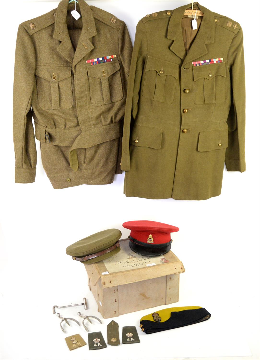 Collection of British Army uniforms and caps , to include WWII British Army dress uniform jacket